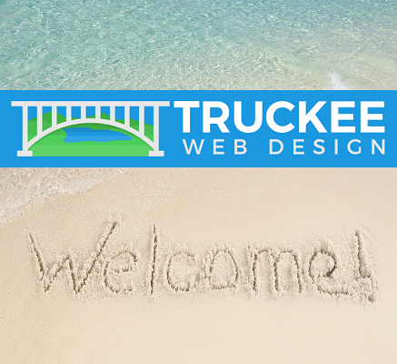 image of beach with truckee web design logo for Welcome truckee web design